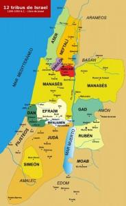 Según la historia del pueblo de Israel se pueden ubicar las 12 tribus en el mapa, es el origen del pueblo de Israel.
